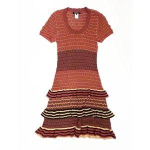 Nanette Lepore Rust Layered Knee Length Dress   XS